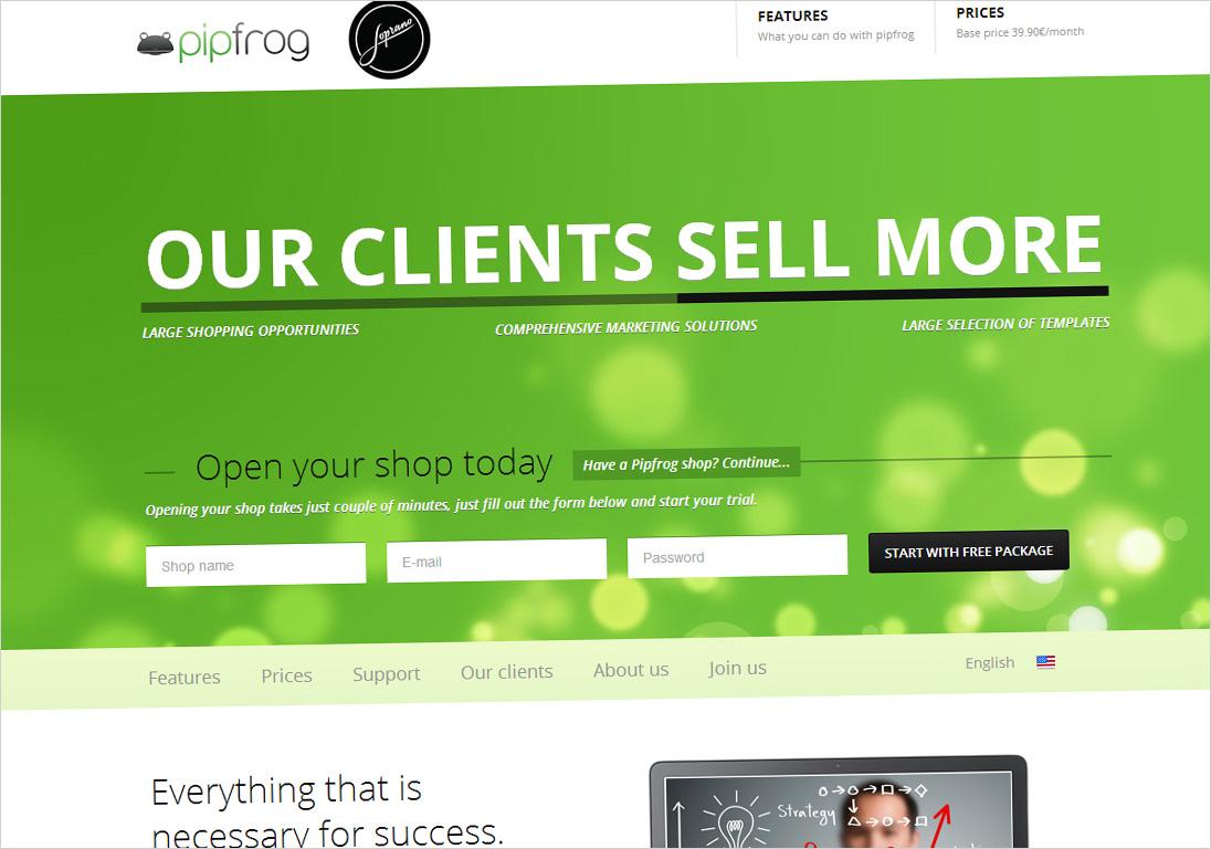 Pipfrog SAAS eCommerce